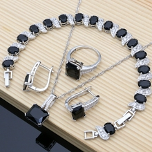 925 כסף כלה תכשיטים שחור אבן לבן CZ נשים חתונה עגילים/תליון/שרשרת/טבעות/צמיד