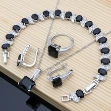 925 bijoux de mariée en argent noir pierre blanc CZ ensembles de bijoux pour femmes boucles doreilles de mariage/pendentif/collier/anneaux/Bracelet