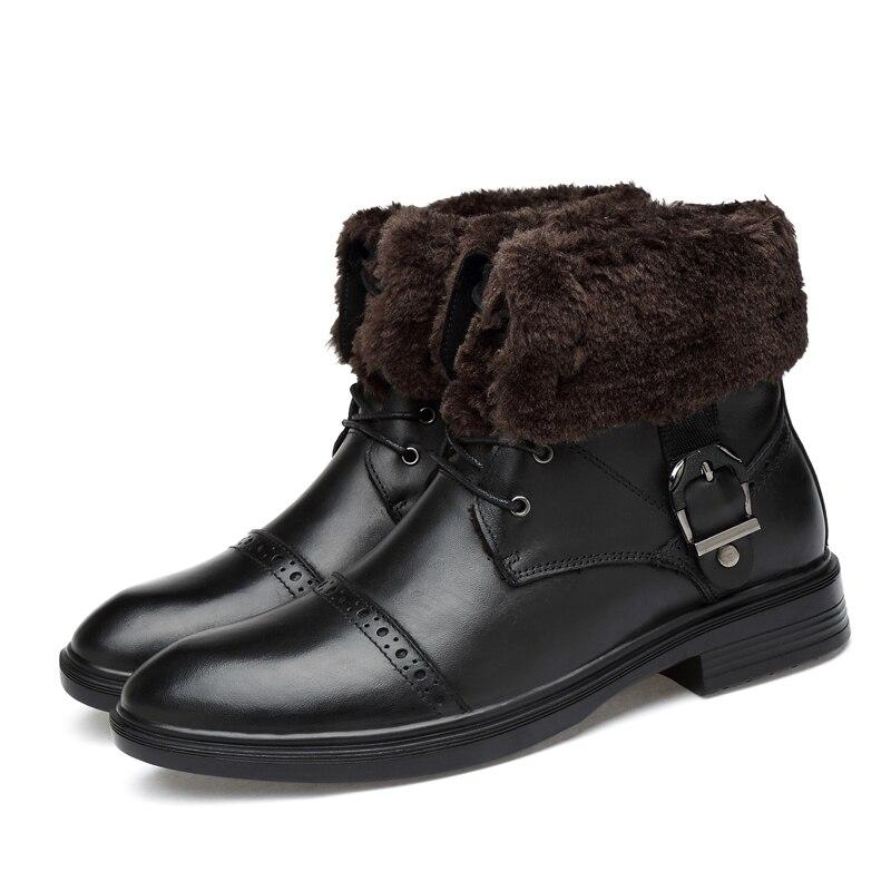 2019 Natural Cow Leather Boots Men Winter Size 34-48 Comfortable Warm Men's Winter Shoes #XH8850