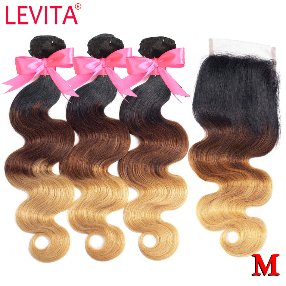 1B/4/27 Honey Blonde Bundles With Closure Ombre Bundles With Closure Brazilian Body Wave Human Hair Weave Bundles With Closure