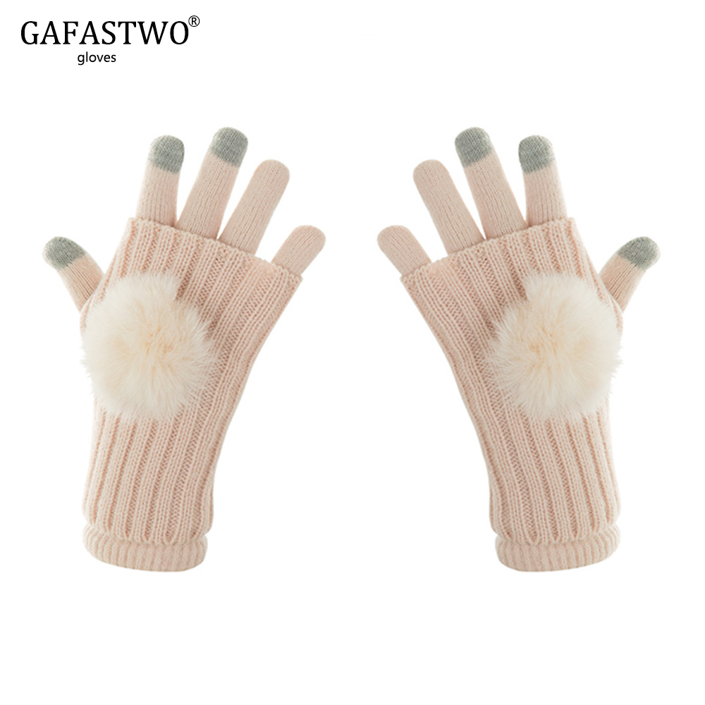 Winter Warm Ladies Knit Gloves Women Fashion Rabbit Hair Ball Touch Screen Mittens Female Outdoor Sport Full-Finger Gloves