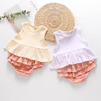 Fashion Baby Girl Clothes Summer Thin Slim Cool Sleeveless Solid Casual Tops Vest Cute PP Shorts Children Outfits Set White