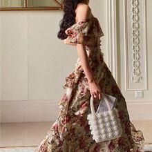 Французский элегантное винтажное платье для женщин с цветочным