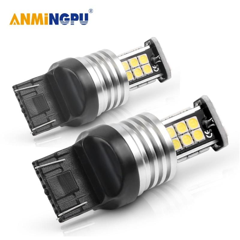 ANMINGPU 2x Car Led Signal Lamp 7440 W21/5W Led Canbus 3030SMD T20 W21/5W 7443 W21W Led Backup Lights Reversing Lights White Red