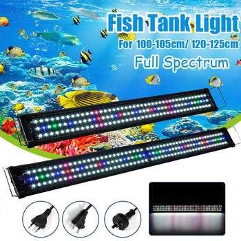 100-105 سنتيمتر 23 واط حوض السمك LED الإضاءة خزان الأسماك الخفيفة مع الأقواس قابلة للتمديد 129 المصابيح الطيف الكامل مصباح النبات AC100-240V