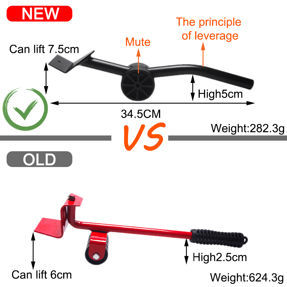 5PCS/Set Professional Furniture Transport Lifter Tool Set Furniture Mover Wheel Bar Roller Device Heavy Stuffs Moving Hand Tools-1