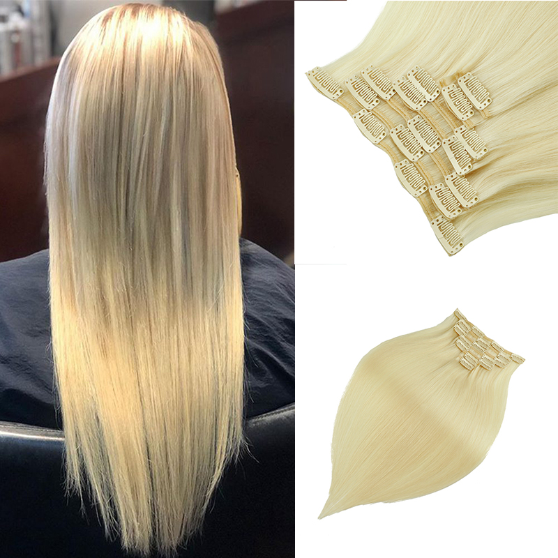 Leshine Remy Hair Clip Hair Extension 7pcs/Set Seamless Natural Human Hair Clip Extensions Human Hair Blonde Double Drawn Hair
