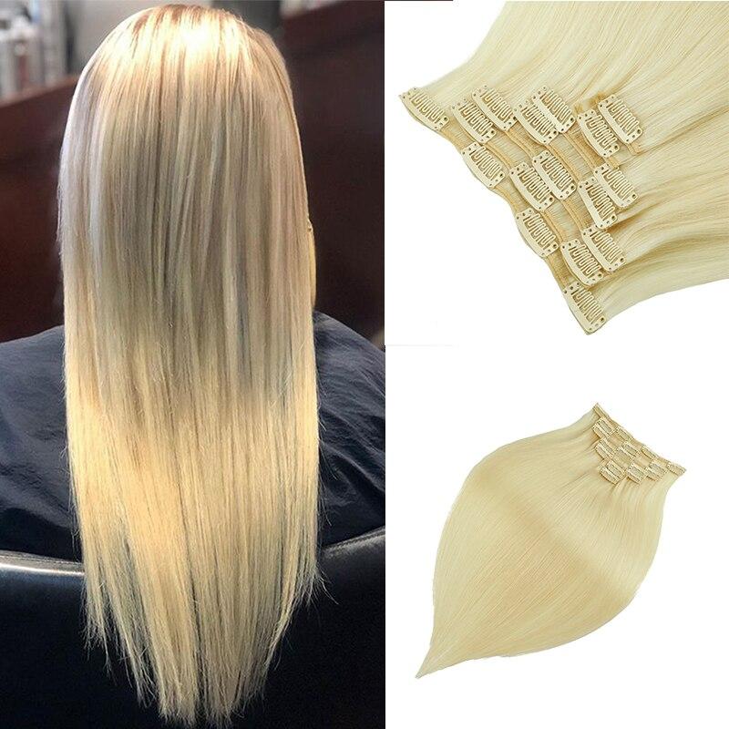 Leshine Remy Hair Clip Hair Extension 7pcs/Set Seamless Natural Human Hair Clip Extensions Human Hair Blonde Double Drawn Hair