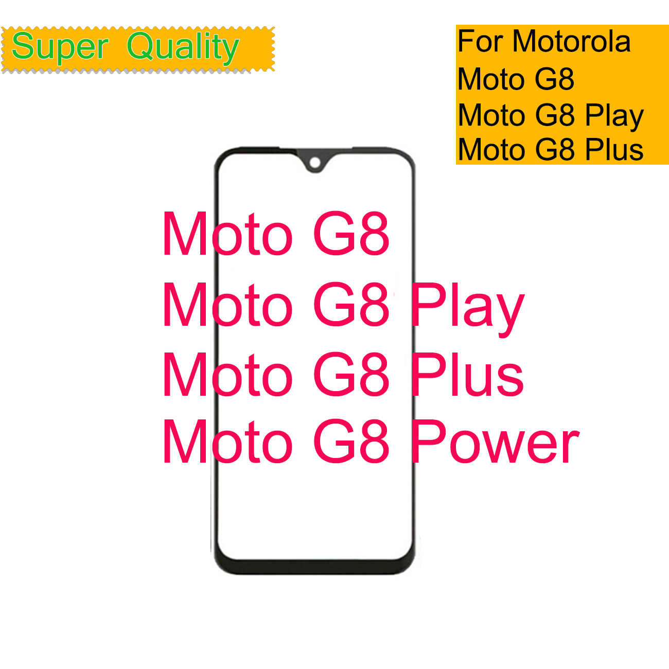 10Pcs/lot Front Outer Screen Glass Lens Replacement Touch Screen LCD Cover For Motorola Moto G8 Play Power Plus Touch Panel