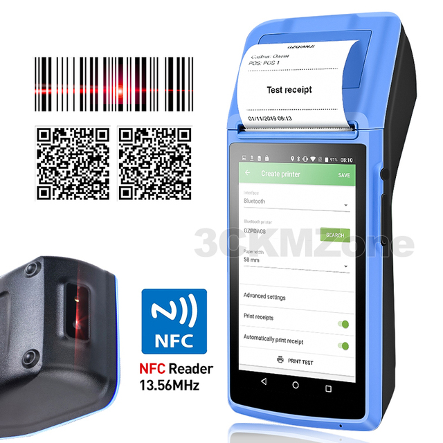 Terminal de mano Wifi POS dispositivo PDA, impresora térmica Bluetooth 58mm, NFC, Bluetooth, sistema POS inalámbrico, Loyverse POS