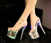 2019 New High Heel Nightclub Sandals Steel Tube Dancing Fluorescence Shine Shoes Women 17.5cm Waterproof 7.5cm Size34 40