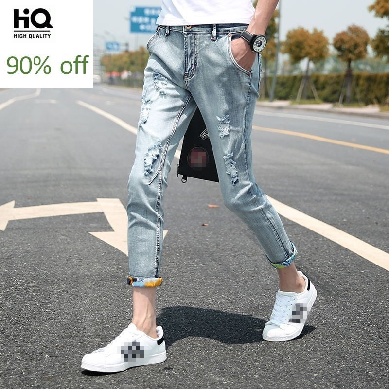 Mens Cowboy Pants Korean Students Feet Pants Slim Stretch Hole Ripped Hip Hop Pants Male New 2020 Jeans Thin Light Blue Big Size