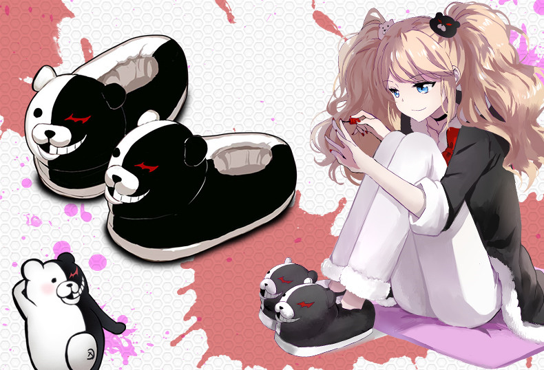 Danganronpa Black White Bear Monokuma Cosplay Shoes Plush Home Slippers