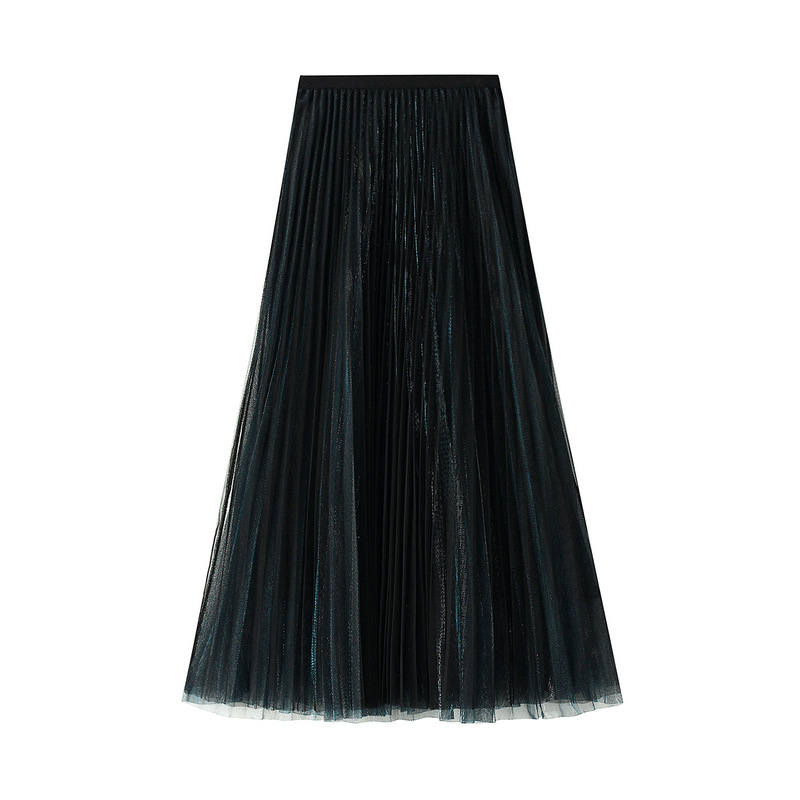 Chiffon Skirt Urban Outfitters Pleated Women's Long Spring Lace High-waisted Slimming Drape Mesh Skirts Pleated Skirt
