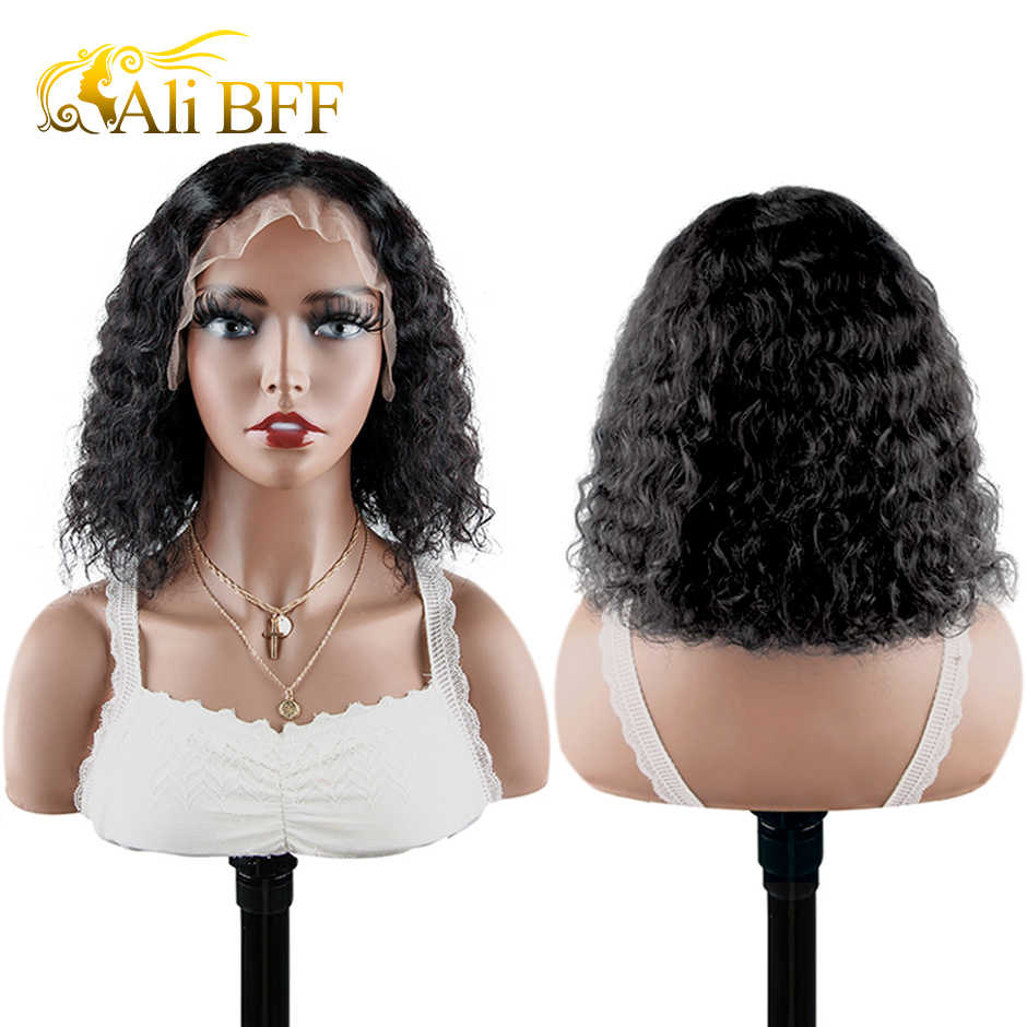 AliExpress BFF Bob corto Peluca de cabello humano con ondas de agua 13*4, densidad del 180, peluca de cabello humano prearrancada Frontal brasileño rizado, pelucas de agua Natural