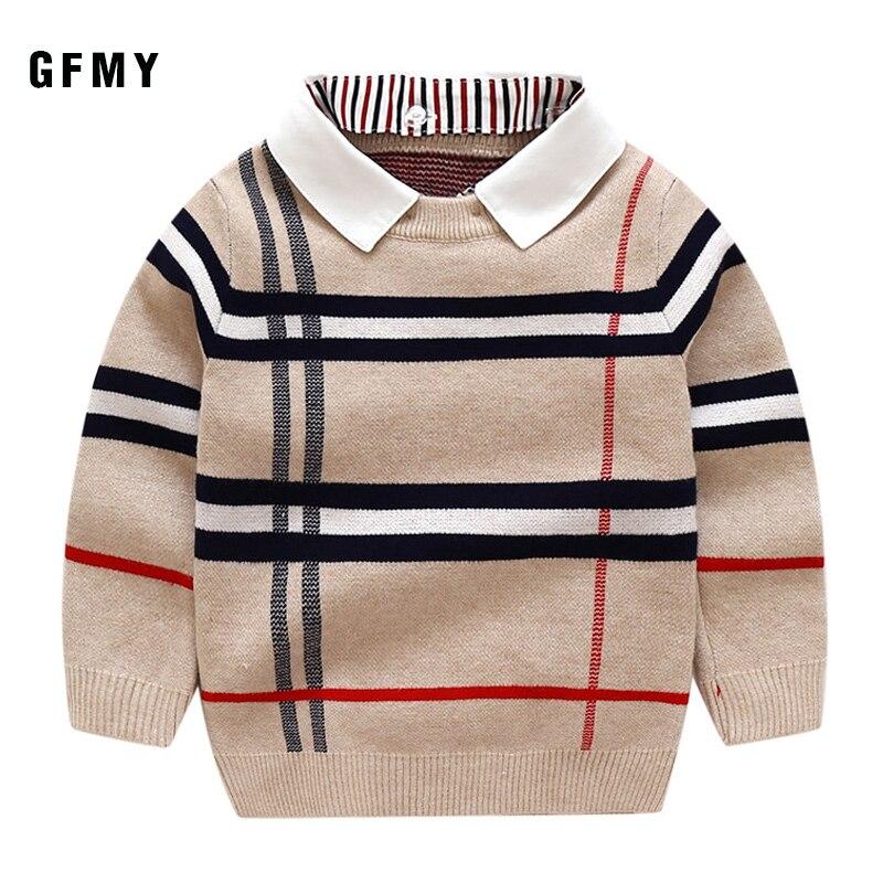 Gfmy 2019 outono quente lã meninos camisola xadrez crianças malhas meninos algodão pulôver camisola 24 m crianças moda outerwear