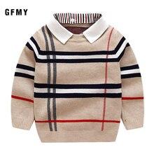 GFMY 2019 Autumn  Warm Wool Boys Sweater Plaid Children Knitwear Cotton Pullover 24M Kids Fashion Outerwear