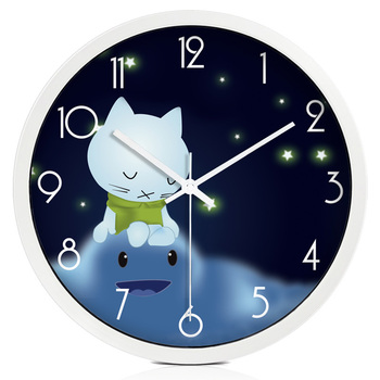 Cute cartoon star and cat children's room decoration wall clock Round mute clocks
