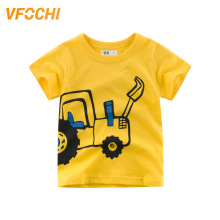 VFOCHI New Arrival Boys T Shirt Yellow Cartoon Excavato Print Kids T Shirt 2-10Y Teenager Tee Tops Cute Boy Clothes Boy T Shirts цена и фото