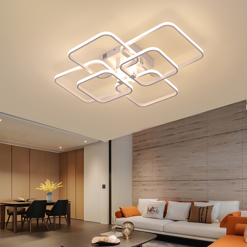 Square Circel Rings Chandelier For Living Room Bedroom Home AC85-265V Modern Led Ceiling Chandelier Lamp Fixtures Free Shipping 3