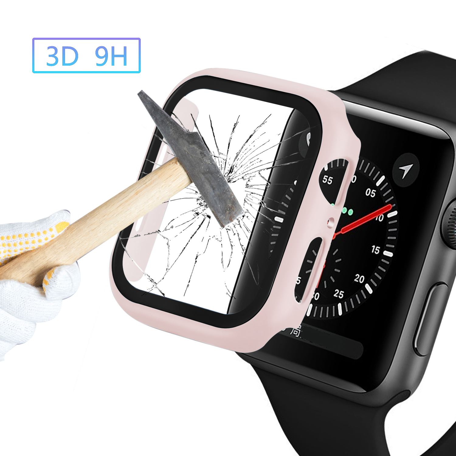 Watch Cover Case for Apple Watch 5/4 40MM/44MM PC Bumper with Glass Protector Film for iwatch Series 3/2 38 42MM  accessories 6