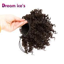 Афро синтетический Пушистый Короткий кудрявый искусственный волос булочка высокий слоеный хвост с шнурком зажимы поддельные пончик Updo удлинитель