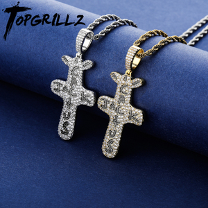 TOPGRILLZ Personalized Cactus Jack Pendant &Necklace Iced Cubic Zircon Plated Gold Silver Color Hip Hop Jewelry For Men Women(China)