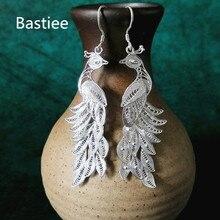 Bastiee 999 Sterling Silver Peacock Earrings Bohemian Drop Dangle Earings Ethnic Handmade Luxury Fine Jewelry Boho New Arrival