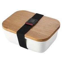 Microwavable Ланч-бокс бамбуковый керамический Bento box Теплоизоляционный контейнер для хранения еды