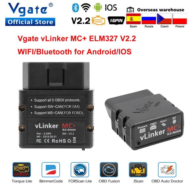 Vgate vLinker MC + ELM 327 Bluetooth 4.0 skaner samochodowy OBD2 wifi automatyczne narzędzie diagnostyczne dla androida/IOS ELM327 OBD 2 ODB2 Bimmercode