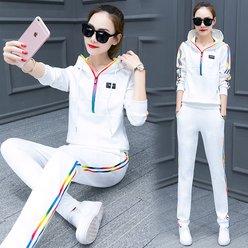 2017 Spring And Autumn Hoodie Large Size Hooded Casual Sports Clothing WOMEN'S Suit Fashion Long Sleeve Trousers Thin Students T