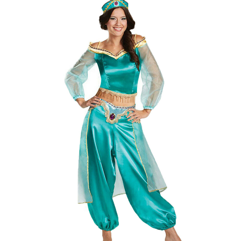 Kids Aladdin Cosplay Costume Princess Jasmine Outfit Party Girls Fancy Dress UK
