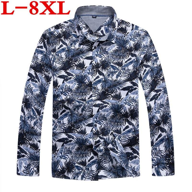 Plus Size 8XL 7XL Mens Hawaiian Shirt Male Casual Camisa Masculina Printed Beach Shirts Long Sleeve Brand Clothing Free Shipping