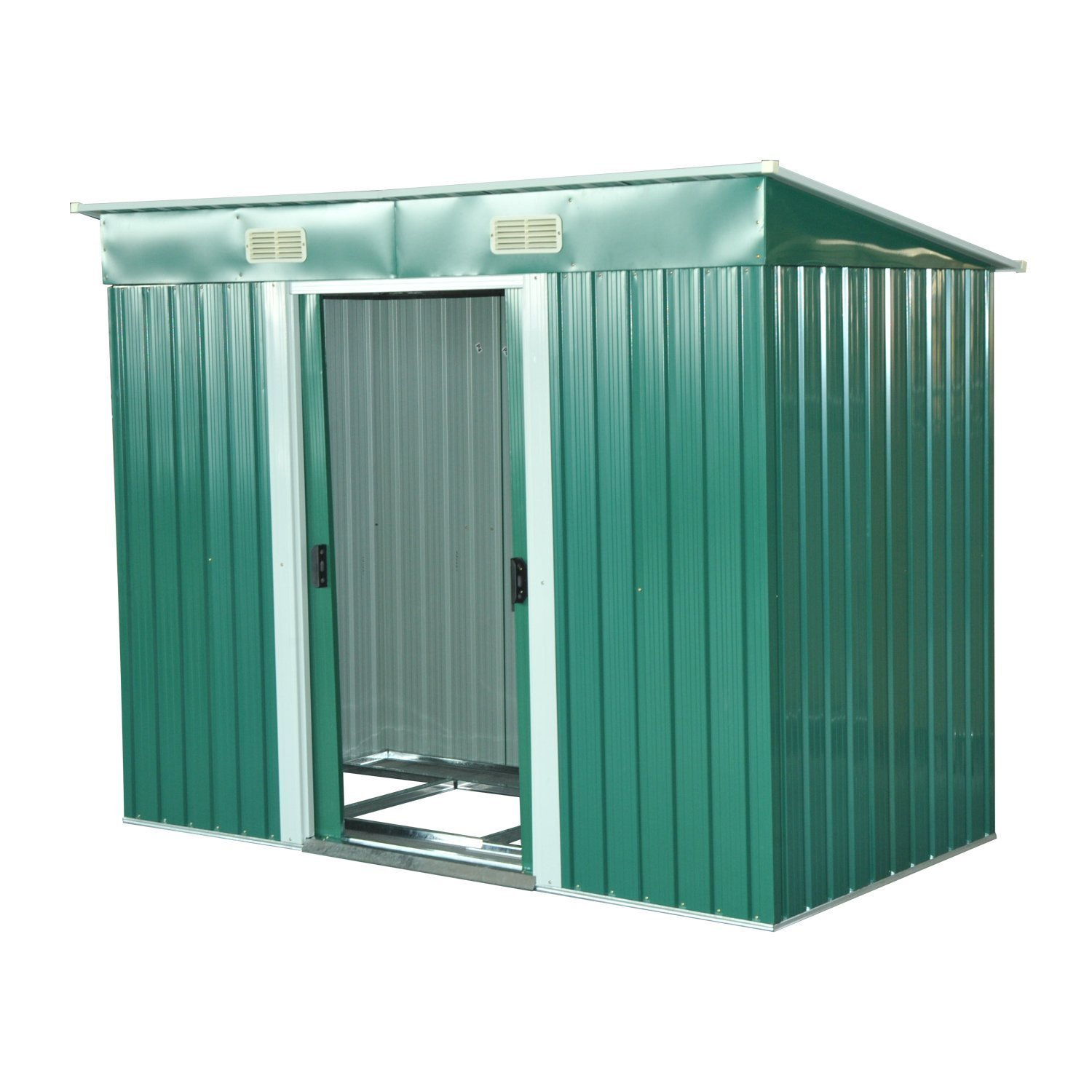 Outsunny Box Log Cabin Door Garden Tools Stainless Steel Sheet 237x119x181 Cm Green