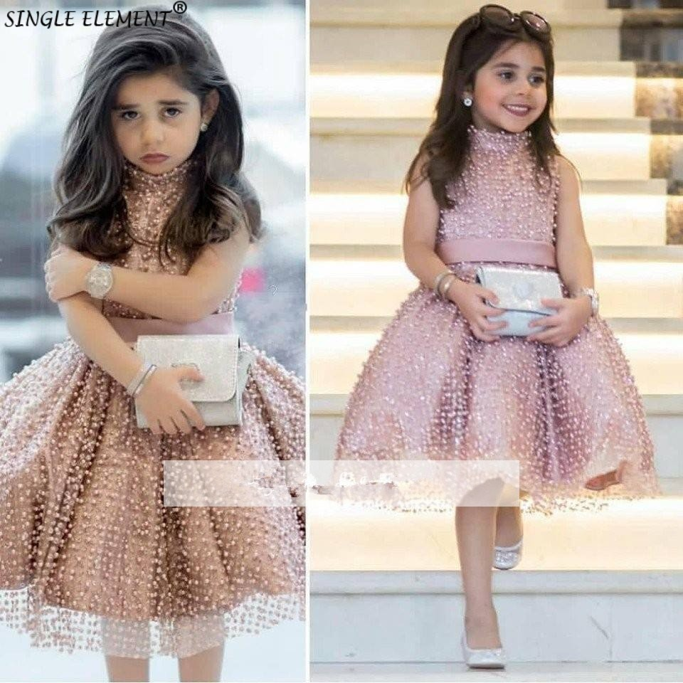 Blush Pink   Flower     Girl     Dresses   For Wedding Little   Girls   Ball Gown Heavy Beaded Pearls First Communion   Dresses