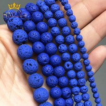 Blue Volcanic Rock Stone Beads Natural Lava Hematite Round Loose Spacer Beads For Jewelry Making DIY Bracelet 15'' 4 6 8 10mm