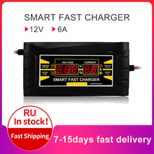 Full Automatic Car Battery Charger 150V/250V To 12V 6A  Smart Fast Power Charging For Wet Dry Lead Acid Digital LCD Display