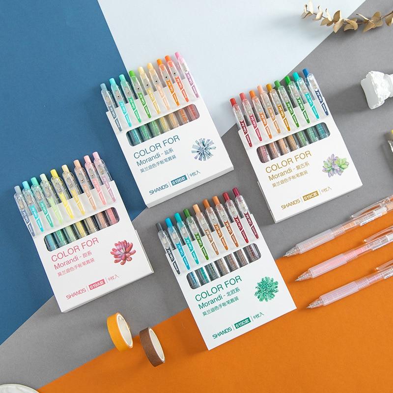 9 Colors Morandi Series Gel Pen Bullet Tip 0.55mm Refills Creative Colored Pen For Children Painting Graffiti Art Supply