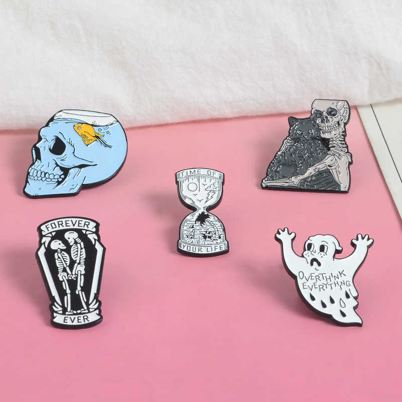 Fish tank skull Pin Cat your forever partner Enamel Pins Ghost Skeleton Hourglass Badge Brooch Bag Lapel Pin Gothic Jewelry Gift