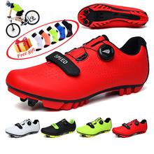 Mężczyźni obuwie rowerowe oddychające samoblokujące buty Mtb buty na rower górski rower RacingTriathlon Sapatilha Ciclismo Mtb tanie tanio R xjian CN (pochodzenie) Skóra Dla dorosłych Wysokość zwiększenie Oświetlony Masaż Buty rowerowe Stretch Spandex