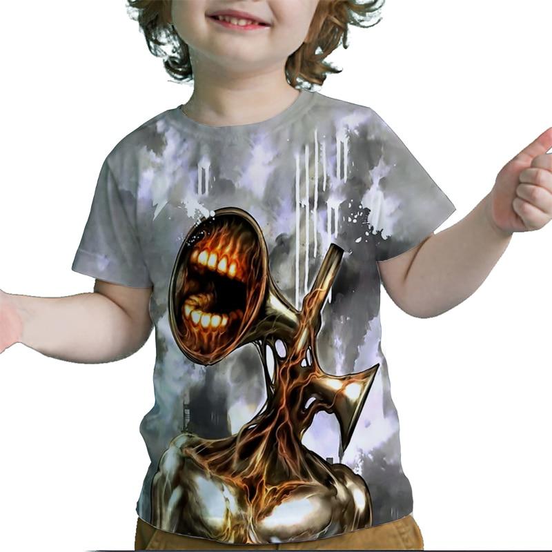 Летняя Детская футболка с головой сирены, футболка для малышей с мультяшным аниме 3D, футболка для мальчиков и девочек, Детская футболка с ко...