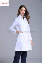 Long-sleeved standing collar white gown slimming nurse oral medicine doctor dental laboratory uniform Surgical Gowns  operating