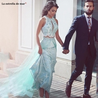 Sexy Prom Dresses 2 Pieces Keyhole Lace Appliques Beaded Sky Blue Tulle Formal Party Dress Sweep Train Pageant Evening Gowns