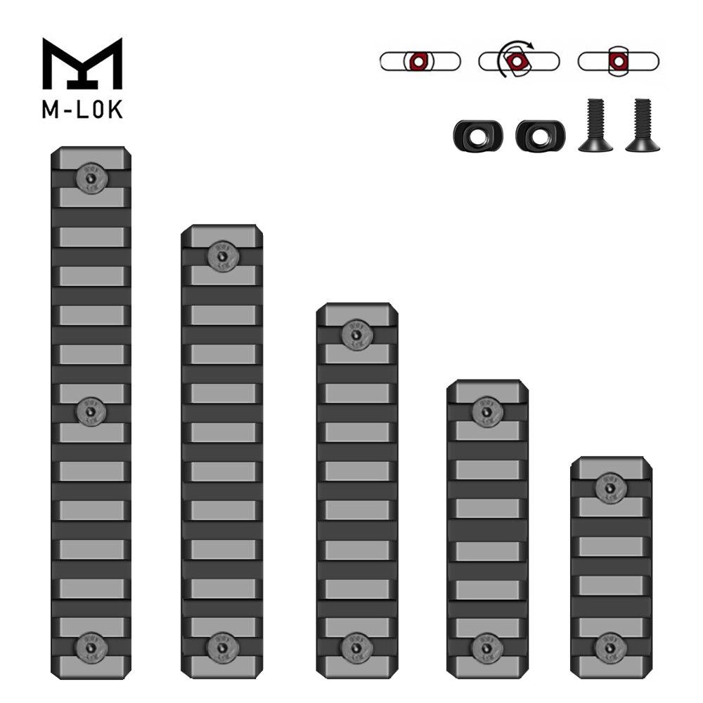 M-lok Picatinny Rail tactique 21mm fusil portée montage Rails en aluminium Section adaptateur 5 7 9 11 13 fentes Mlok système de Rail latéral