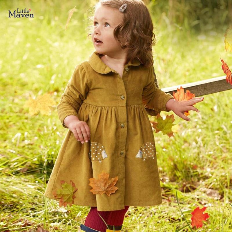 Little Maven Brand Autumn Baby Girls Clothes Cotton Hedgehog Applique Shirtdress Toddler Christmas Dresses for Kids 2-7 Years 3