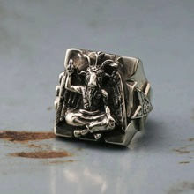 EYHIMD Gothic Baphomet Ring Stainless Steel Ring Seal of Satan Pentagram Sigil Illuminati Rings Jewelry Gifts for him
