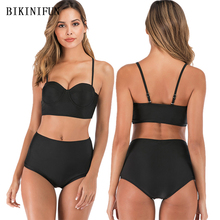 цены New Sexy Solid Black Bikini Women Swimsuit Push Up Bathing Suit S-2XL Girl High Waist Backless Swimwear Padded Bikini Set