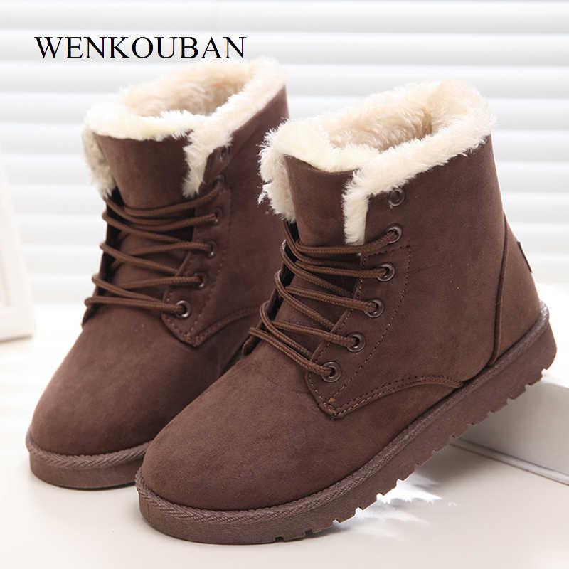 Botas de invierno botas de tobillo de Mujer botas de nieve de gamuza de Piel de Mujer Zapatos de plataforma de felpa Bota femenina Zapatos negros Mujer 2019