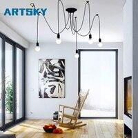 Retro Black E17 Bulb 6 14 Arms Adjustable Chandelier Modern Dining Room Living Room Kitchen Decor