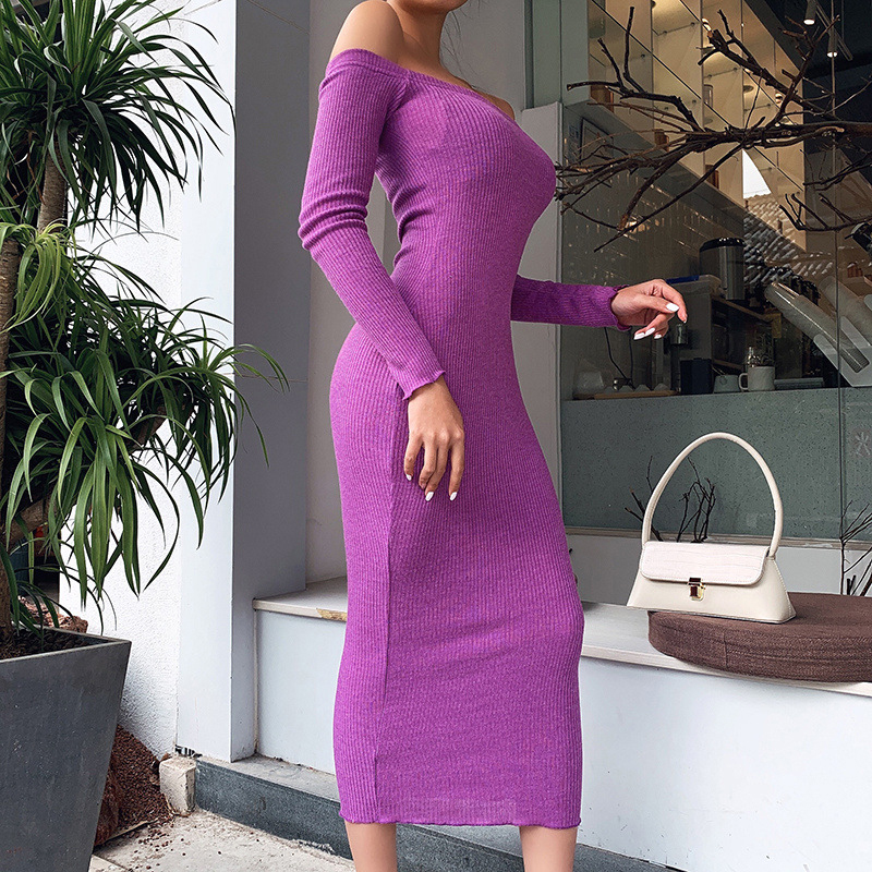 Off Shoulder Ribbed Knitted Long Sleeve Bodycon Midi Dress 8